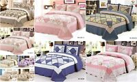 3 Piece Quilted Patchwork Bedspread 100% Quilted Throw Set 2 Pillow Shams-King
