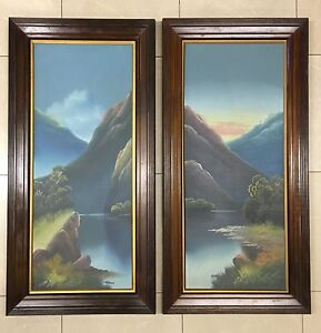 Pair of Edwardian Landscape Oil Paintings in Oak Frames 83cm x 33cm