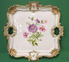 "Meissen Vanity Tea Set Tray Floral Gold Accents 16"""