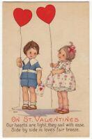 013020 LOVELY VINTAGE VALENTINE POSTCARD A/S ME PRICE CHILDREN W/ HEART BALLOONS