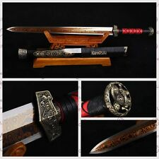 "100%Handmade Chinese Sword ""Han Jian""(剑) Red Pattern Steel Blade Sharp Swords -B"