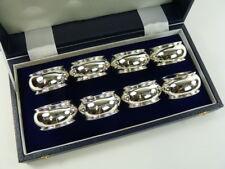NEW - Sterling Silver - Set of 8 NAPKIN or Serviette RINGS - Barrel Shaped