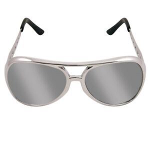70s 70's 1970s Fancy Dress Rockstar Sunglasses Silver Elvis Glasses Brand New