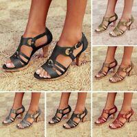 Women's Ladies Elegant Buckle Strap Ankle Peep Toe High Heel Sandals Roman Shoes