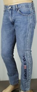 Polo Ralph Lauren Varick Slim Straight Blue Denim Flag Jeans NWT