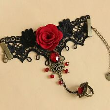 Gothic Women Metal Chain Red Rose Crystal Lace Bangle Bracelet Finger Ring