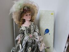 VTG PORCELAIN DOLL BY MENIE #22170 NAMED ABBY COA BOXED OLIVE GREEN GOWN 22""