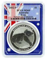 2012 P Australia 1oz Silver Koala PCGS MS69 - Flag Frame