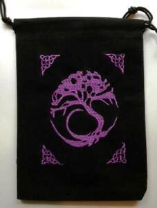 Black Velveteen Tree of Life Tarot, Crystal or Rune Bag!