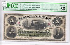 1891 Banque Nationale $5 Canceled Bank Note - Very Fine 30 - 9 notes known