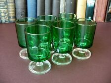Six Vintage French Emerald Green Sherry Glasses