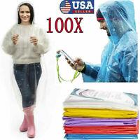 1-100X Disposable Adult Emergency Waterproof Rain Coat Poncho Camping Hiking