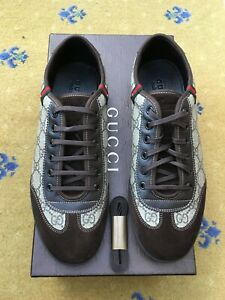 New Gucci Mens Trainers Sneaker Low Top Suede Canvas Shoes UK 8 US 9 42 Supreme