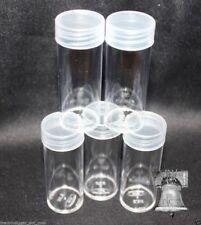 10 BCW Coin Holder Tube QUARTER Round Plastic Storage Tubes Screw Cap HOLDS 40