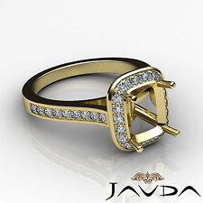 Diamond Engagement Ring 0.70C 14k Yellow Gold Cushion Shape Semi Mount Halo Pave