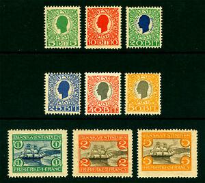 DANISH WEST INDIES  1905  St.Thomas Harbor set  Sc# 31-39  mint MH