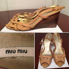 dd5392d30892 MIU MIU Prada Beige Leather Strap Peep-Toe Wood Wedge High Heels Shoes Size  9.5
