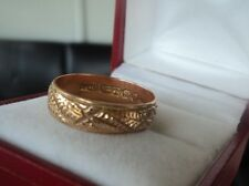 Victorian 9ct Rose Gold Patterned Wedding Band Ring 1896 Birmingham - size Q
