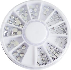 Nail Art Strasssteine Glitzer Steine Rund 3 Größen Kristall Silber  im Rondell
