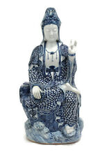 Vintage Style Blue and White Porcelain Kwan Yin On Lotus Figurine Statue 18""