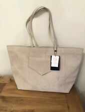 Zara  Beige Suede Leather Large Tote Bag With Pockets Bnwt