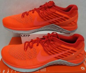 Mens 12 NIKE Metcon DSX Flyknit Total Crimson Hyper Orange Shoes $160 852930-800