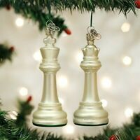 Old World Christmas Blown Glass White King & Queen Chess Set Game Piece Ornamnts
