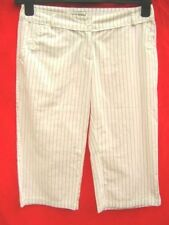 White Pinstripe Cotton capri Cropped Trousers long City shorts Peddle pushers 8