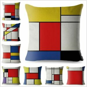 Piet Mondrian Style Cushion Covers Geometric Art Throw Pillow Case Sofa Decor
