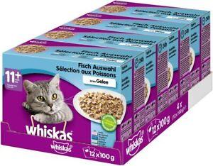 Whiskas 11+ Katzenfutter Fisch-Auswahl in Gelee Nassfutter Senior 48 x 100g