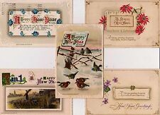 Lot of 5 Vintage John Winsch Happy New Year Greeting Postcards 1911 1914  VG