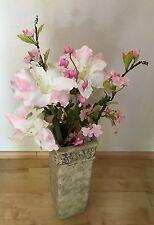 BODENVASE Dekovase Vase Ton 49cm Amphore f. Flur mediterran grau mit Blumen Top