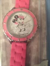 Disney Parks Mickey Mouse Watch pink vinyl band silver tone - New