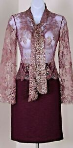 ST.JOHN Couture Womens Burgundy Gold Silver Shimmer Lace Top & Skirt Sz 2
