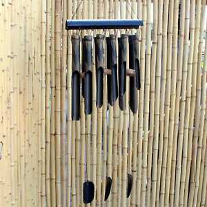 Wind Chime Bamboo Wood Black (93cm) Garden Decoration Bali AsienLifeStyle