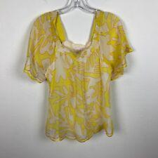 Tori Richard Hawaiian Blouse Size 2 Silk Cotton Floral Yellow Short Sleeve