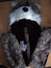 Cappello Animale Pelliccia Sintetica Lupo tutto in 1 Trapper Hat Sciarpa Guanti basso di lenza Nuovo + Etichette