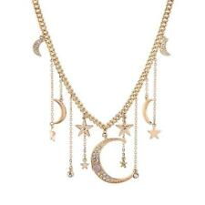 Celestial Moon and Star Pendant Statement Necklace