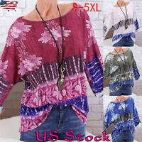 Plus Size Women Loose Floral Boho Tops T-shirts Long Sleeve Ladies Baggy Blouse