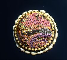 Large black and blue purple fabric insert freshwater pearls BROOCH