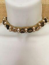 ANTIQUE VINTAGE Costume Jewelry Metallic Weave Pearls Necklace & Earrings Set