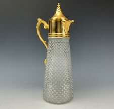 Hollywood Regency French Style Gilt Brass Mounted Crystal Glass Claret Jug TIA