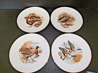JKW Kuba Porzellan Game Bird Wall Plates W. Germany Pheasant Duck Quail-Lot of 4