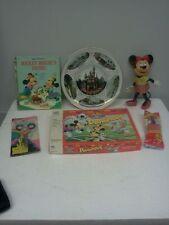 VTG Mickey Mouse Disneyland 6pcs.lot plate,book,pez,game doll &scissors