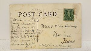 """Antique Postcard """" A Society Bud"""" With 1907 BEN FRANKLIN ONE CENT STAMP(C)"""