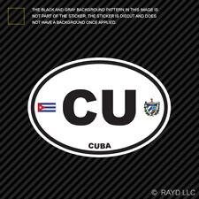Cuba Oval Sticker Die Cut Decal Cuban Country Code euro CU v2
