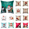 "18"" Christmas Xmas Merry Polyester Pillow Case Designed Throw Cushion Cover Gift"
