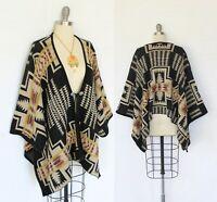 Pendleton Harding Aztec southwest Mexican blanket jacket cape poncho Sweater M