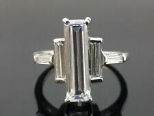 Simulated Thin Baguette Solitaire Ring Three Stone Anniversary 925 Silver Size 7