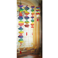 4x Bamboo Foldable Rainbow Spiral Windmill Wind Spinner Set Home Garden